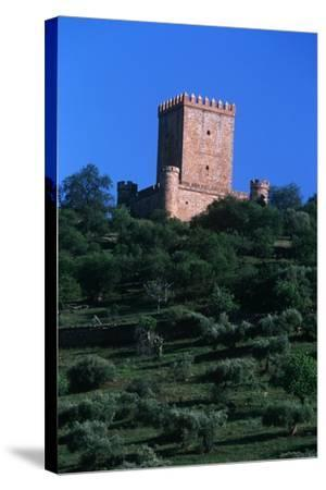 Spain, Extremadura, Nogales, Castle, Detail of Tower--Stretched Canvas Print