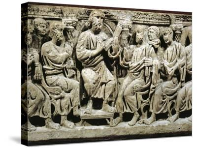Marble Sarcophagus, Relief Depicting Jesus Christ Teaching Apostles, from Rignieux-Le-Franc--Stretched Canvas Print
