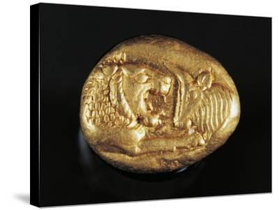 Gold Stater of King Croesus Depicting Lion Facing Bull, Greek Coins, 7th Century BC--Stretched Canvas Print