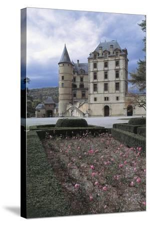 Formal Garden in Front of a Castle, Vizille Castle, Rhone-Alpes, France--Stretched Canvas Print