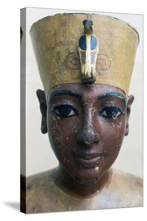 Head of Tutankhamun in Painted Wood, from Tomb of Tutankhamun--Stretched Canvas Print