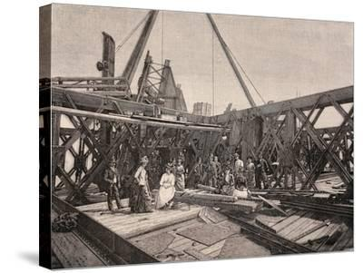 Visitors on the Second Terrace of the Eiffel Tower, August, 1888, France--Stretched Canvas Print