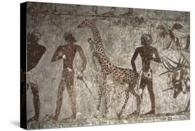 Mural Paintings of Tributes from Foreign Peoples, Detail of Giraffe from Punt--Stretched Canvas Print