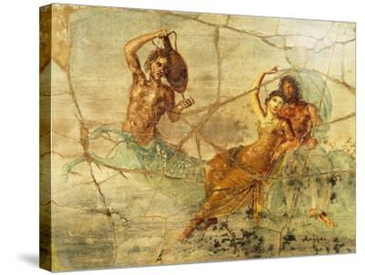 Fresco Depicting Poseidon and Amphitrite, from Pompei, Italy--Stretched Canvas Print