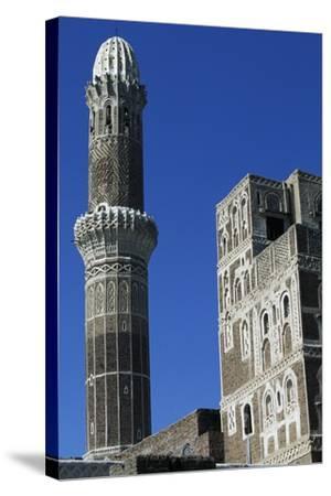 Az-Zumur Mosque, Minaret, Sana'A, Yemen--Stretched Canvas Print