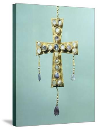 Votive Cross in Gold and Precious Stones--Stretched Canvas Print