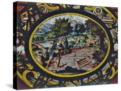 Windows of Montigny Church, Depicting an Allegory of October and Scene of Agricultural Work--Stretched Canvas Print