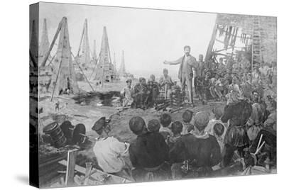 Stalin Haranguing Workers in Baku--Stretched Canvas Print