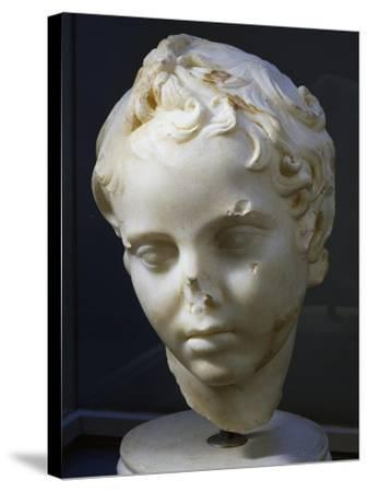 Marble Head of Eros, Copy of Original by Lysippos--Stretched Canvas Print