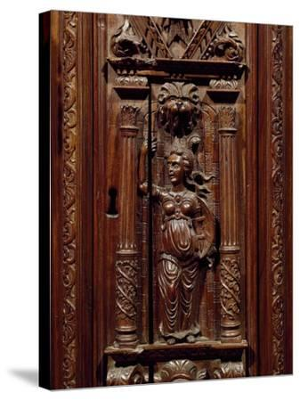 Carvings of Figures on Renaissance Style Walnut Cabinet, France, First Half 16th Century, Detail--Stretched Canvas Print