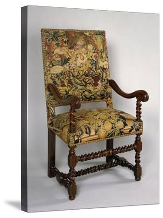 Louis XIII Style Armchair with Turned Frame and Upholstered Back and Seat, France--Stretched Canvas Print