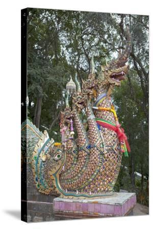 Detail of the Seven Headed Naga Guarding the 300 Steps to Wat Phrathat Doi Suthep, Thailand--Stretched Canvas Print