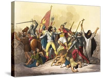 Atahualpa King of Incas Captured by Pizarro Taken from South America by Giulio Ferrario, 1827--Stretched Canvas Print