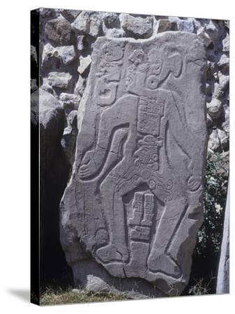 "Mexico, Stone Stele 55 Called ""The Dancer"" with Glyphs and Calendar--Stretched Canvas Print"