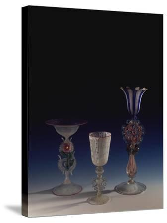 Glass Goblets, Italy--Stretched Canvas Print