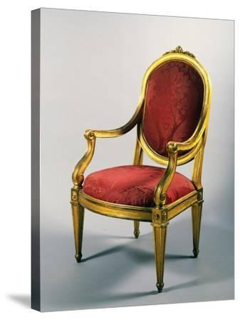 Carved and Gilt Genoese Armchair, 1780--Stretched Canvas Print