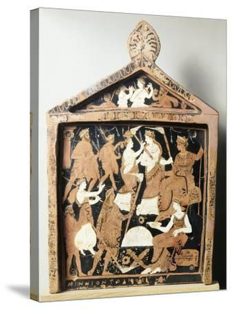 Greek Civilization, Red-Figure Pottery, Pinax Depicting Ritual, Ex-Voto from Eleusis, Greece--Stretched Canvas Print