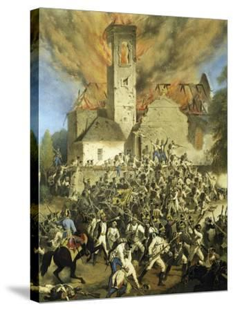 Clashes Between the French and Austrians for the Capture of Vienna--Stretched Canvas Print