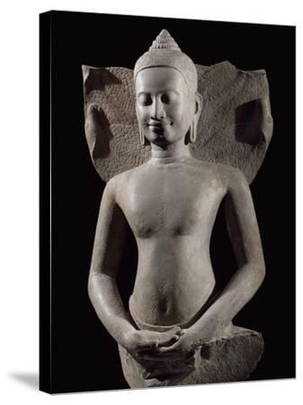 Cobra Protecting Buddha, Bayon-Style Stoneware Statue, from Preah Khan in Kompong Svay--Stretched Canvas Print