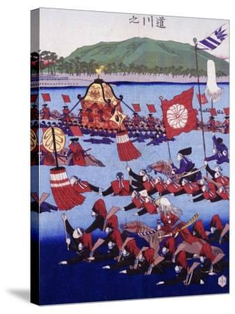 Japan, Armed Troops Crossing Lake, Ukiyo-E Woodblock Print from Edo Period--Stretched Canvas Print