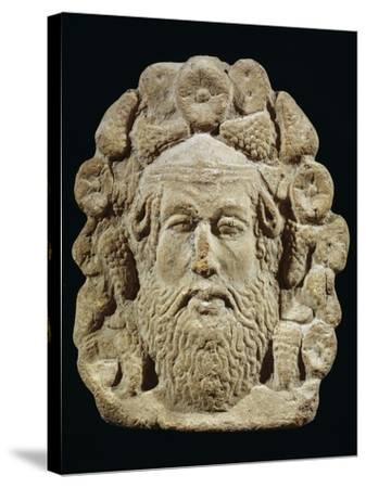 Antefix Depicting Silenus' Head Surrounded by Bunches of Grapes and Flowers--Stretched Canvas Print