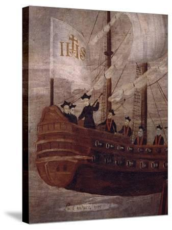 The Jesuits Arriving by Ship Off the Coast of New Granada, Painting 18th Century--Stretched Canvas Print