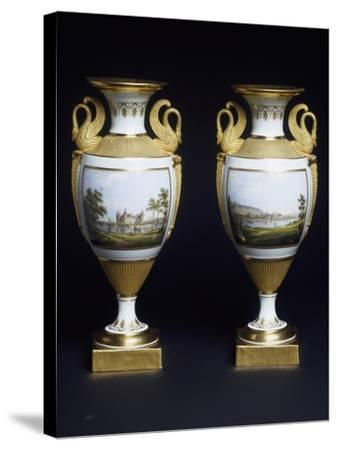 Pair of Vases, Porcelain, Meissen Manufacture, Saxony, Germany--Stretched Canvas Print