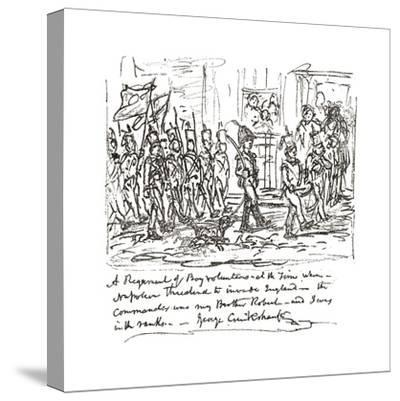 Sketch in Pen and Ink Depicting Robert Heading a Boy Regiment--Stretched Canvas Print