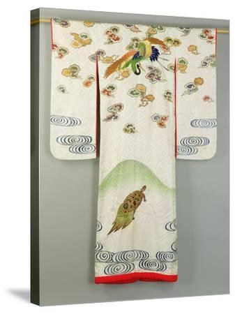 Uchikake Wedding Robe Decorated with a Crane and a Tortoise, Japanese--Stretched Canvas Print