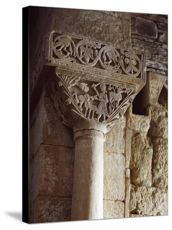 Spain, Zamora, Church of St Peter of Nave, Sacriface of Isaac, Detail of a Carved Capital--Stretched Canvas Print
