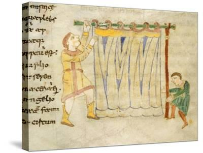 Drapers, Miniature from a Work by Rabano Mauro, Manuscript, Italy 11th Century--Stretched Canvas Print