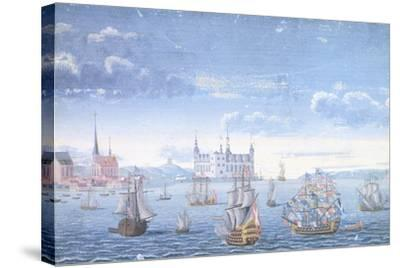 View of Helsingor and Kronborg Castle, 1739--Stretched Canvas Print