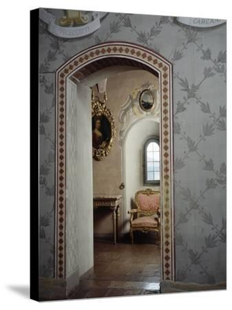 Italy, Morando Bolognini Castle, Mozza Tower, Throne Room with Entrance to Golden Salon--Stretched Canvas Print