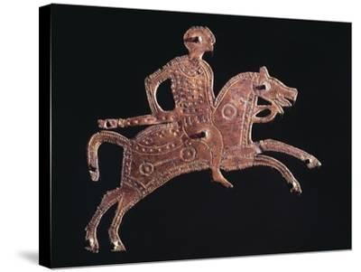 Gilt Bronze Buckle Ornament in Shape of a Horseman, from Stabio, Switzerland--Stretched Canvas Print