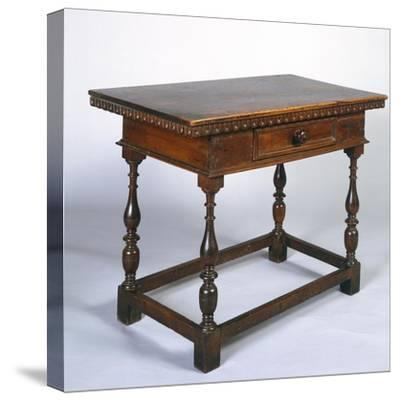 Tuscan Table in Walnut with Turned Legs and Stretchers, Italy, 16th Century--Stretched Canvas Print