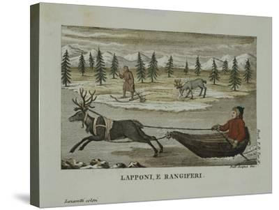 Laplanders and Reindeer, Lapland 19th Century--Stretched Canvas Print