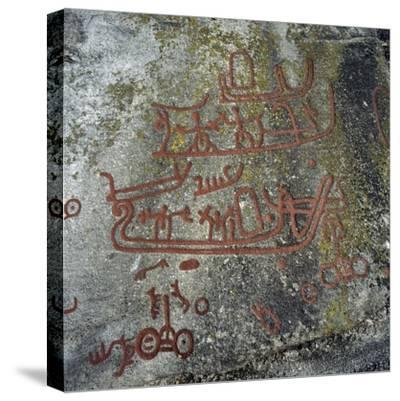 Rock Carvings, Begby, Norway, Bronze Age--Stretched Canvas Print