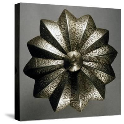 Shield Boss in Steel Decorated with Engravings, Made in Veneto Region in Mid-16th Century, Italy--Stretched Canvas Print
