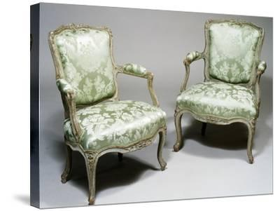 Pair of Louis XV Style Carved Wood and Lacquer Armchairs, One Stamped Reuze and Other L Cresson--Stretched Canvas Print