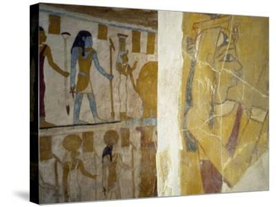 Wall Paintings from Tomb of Pa Nentwy, Bahariya Oasis, Giza, Egypt--Stretched Canvas Print