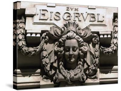 Sculptural Decoration of Building with Inscription Zum Eisgruebl, Vienna, Austria--Stretched Canvas Print