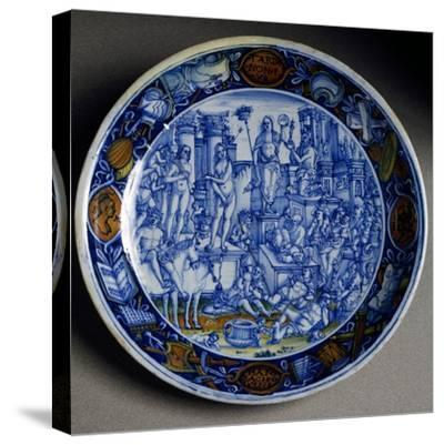 Plate with Allegory of Selene, Ceramic, Faenza Manufacture, Emilia-Romagna, Italy, Ca 1510--Stretched Canvas Print