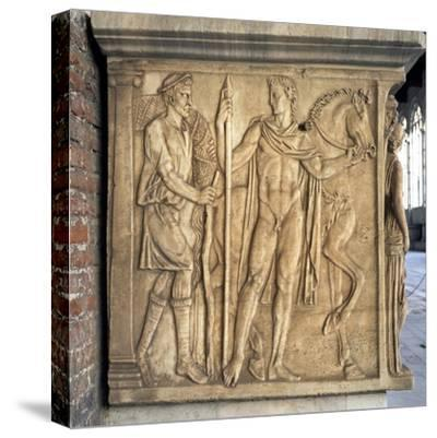 Ephebos and Horse, Detail of Reliefs from Sarcophagus in Rectangular Case--Stretched Canvas Print