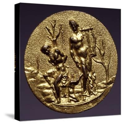 Plaque Depicting the God Apollo and Marsyas, Gilt Brass, Florentine or Roman Scope, Italy--Stretched Canvas Print
