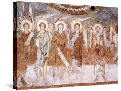 Angels of Heavenly Court, Romanesque Fresco in Abbey Church of Saint-Theodore--Stretched Canvas Print
