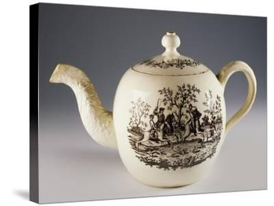 Teapot with Fox Hunting Scenes, Ca 1760, Ceramic, Staffordshire Manufacture. England.--Stretched Canvas Print
