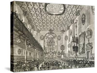 Interior of German Church During Church Service, Germany--Stretched Canvas Print