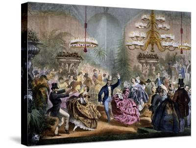 Dance in Winter Garden, 33 Champs-Elysees, Paris, Ca 1865, France--Stretched Canvas Print