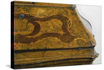 Walnut Lombard Trumeau Cabinet with Decorative Motifs in Rosewood and Boxwood, Italy, Detail--Stretched Canvas Print