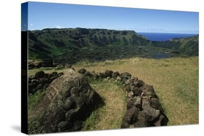 Chile, Easter Island, Rapa-Nui National Park, Rano Kau Volcano and Crater Lake--Stretched Canvas Print